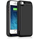 iPhone 5S/5SE/5C/5 Battery Case,5000mAh Rechargeable Charging Case for iPhone 5S 5SE Extended Charger Cover Apple 5C 5...