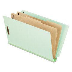 * Pressboard End Tab Folders, Legal, 2 Dividers/6 Section, Pale Green, 10/Box