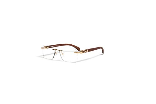 VINTAGE WOOD COLLECTION Gold and Wood Rimless Eyeglass Frames, Genuine Brown Cherry Wood, Square Clear Demo Lens, Prescription ()