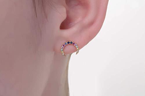 - Rainbow earrings, Sapphire horn earrings, Double horn earrings, Rainbow sapphire studs, Multi coloured studs, FREE SHIPPING Gold studs,