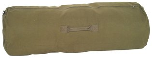 Olive Drab - Military Large Duffle Bag w/Side Zipper, 25'' x 42'' (Cotton Canvas)
