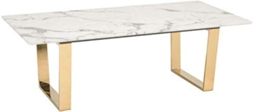 Zuo Modern Atlas Coffee Table, Stone and Gold, Rectangular Faux Marble Top, Simple Gold Geometric Base, 150 lbs Weight Capacity, Dimensions 47.2 W x 15.7 H x 23.6 L