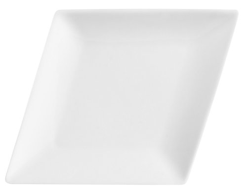CAC China DM-C13 Diamond 11-1/4-Inch by 7-5/8-Inch Super White Porcelain Coupe Platter, Box of 12
