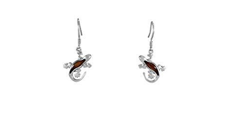 Sterling Silver Koa Wood Lizard Gecko Hook Earrings