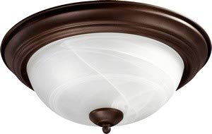 Flush Mount with Faux Alabaster Glass in Cobblestone Finish: Oiled Bronze