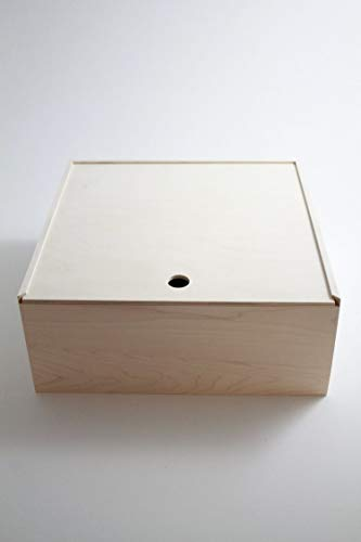 "Pie Box Wooden Box Pie Style Sliding Lid Housewarming Gift Pie Cake Carrier. 13""x 13""x 6"". All Maple and Unfinished."