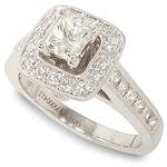 Peter Lam Square Bezel Engagement Ring in 18k White Gold