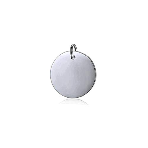 Mei Show 925 Sterling Silver Round Disc Pendant Blank Stamping Tag Necklace Bracelet Earring Pendant Charms (15mm)