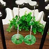 Clasp Ear (TKHNE Han Chinese clothing cheongsam costume earrings with jewelry retro palace earrings emerald floating flowers jade peace buckle clasp earrings)