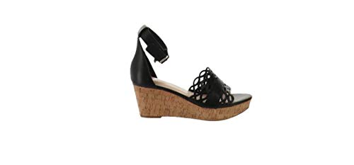 Isaac Mizrahi Leather Wedge Sandals Black 6.5W New A303062 from Isaac Mizrahi Live!