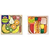 Melissa & Doug Cutting Food - Play Food Set With 25+ Hand-Painted Wooden Pieces, Knife, and Cutting Board With Melissa & Doug Cutting Fruit Set - Wooden Play Food Kitchen Accessory