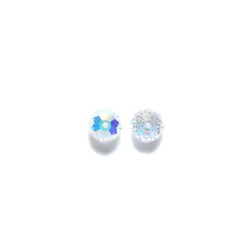 Swarovski 5040 Rondelle Beads, Aurora Borealis Finish, 6mm, Crystal, 6-pack