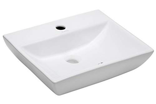 Elanti Collection EC1409 Porcelain Wall-Mounted Rectangular Compact Sink (Single Compact Bowl)