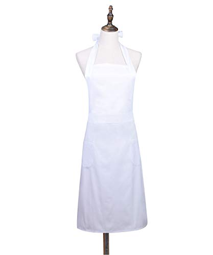 Love Potato White Adjustable Pinafore Apron Kitchen Cake Baking Cooking Cleaning Apron with 2 Pockets for Women Girls (Adult -