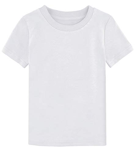 - COSLAND Kids Basic Tshirt Cotton Solid T Shirts(White, Medium)