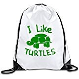 Discovery Wild I Like Turtles Polyester Drawstring Backpack Rucksack Shoulder Bags Gym Bag Home Travel Sport Storage Use