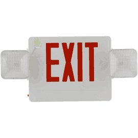 (Universal Thermoplastic LED Exit Sign with Emergency Lights - Red Letters - White Housing)