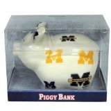 NCAA Michigan Wolverines Piggy Bank with All Over Logo ()