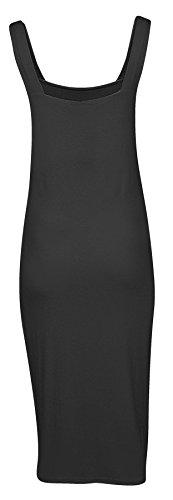 Womens Ladies Plain Strappy Bodycon Midi Dress
