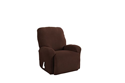Serta 4 Piece Stretch Grid Recliner Slipcover, Chocolate (Chocolates 37 Percent)