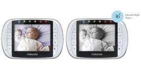 3.5 inch diagonal LCD color display shows sound and video monitoring, with infrared night vision.