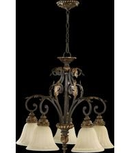 Quorum 6457-5-44 Rio Salado Chandelier, 5-Light, 500 Total Watts, Toasted Sienna With Mystic - Antique Bronze Finish Gilt
