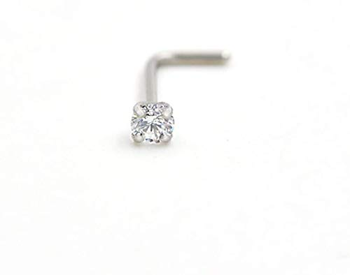 8 Pcs 18 Gauge Stainless Steel Nose Rings Studs L Shaped Crook Nose Body Piercing Jewelry 1.5mm 2mm 2.5mm 3mm Diamond CZ Nose Stud L Bend for Women Girl Piercing (Sliver-Steel)