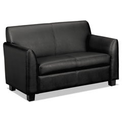 basyx Vl870 Series Leather Reception Two-Cushion Loveseat, 53 1/2 X 28 3/4 X 32, ()