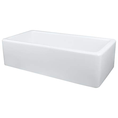 Transolid FUSS361810 Porter Fireclay Undermount Reversible Plain Super Single Bowl Farmhouse Kitchen Sink, 36