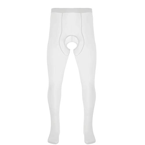 inlzdz Men's Ice Silk Pantyhose Closed Toes Tights Hosiery Lingerie Stretchy Stockings Underwear White One Size