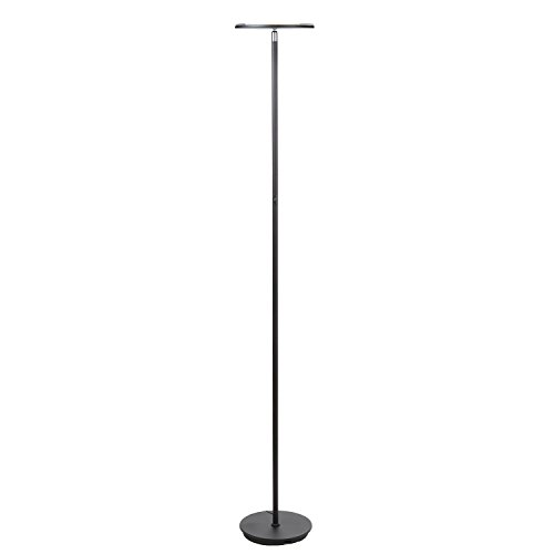 Brightech Sky Flux - Modern LED Torchiere Floor Lamp for Living Rooms & Bedrooms - Adjustable Warm to Cool White - Tall Pole, Standing Office Light - Bright, Minimalist & Contemporary Uplight - Black by Brightech