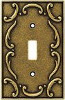 Wall Plates, French Lace Series Single Switch, Burnished Antique Brass Finish