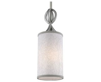 Feiss P1345SL Parchment Park Wood Polished Crystal Pendant, 1-Light, Dark Silver (5''W by 15''H)