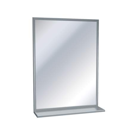 ASI Stainless Steel Angle Frame Mirror with Shelf - 18