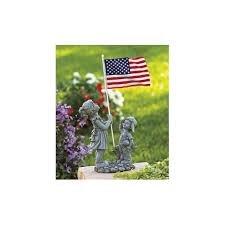 Patriotic 4th Of July Kids With American Flag Ceramic Statue Garden Yard  Art 20u0026quot; X