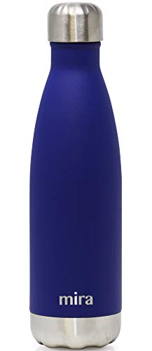 MIRA 17 oz Stainless Steel Vacuum Insulated Water Bottle | Leak-Proof Double Walled Cola Shape Bottle | Keeps Drinks Cold for 24 Hours & Hot for 12 Hours | Matte Dark Blue
