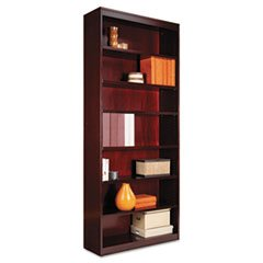 (- Square Corner Wood Veneer Bookcase, Seven-Shelf, 35-5/8 x 11-3/4 x 84, Mahogany)