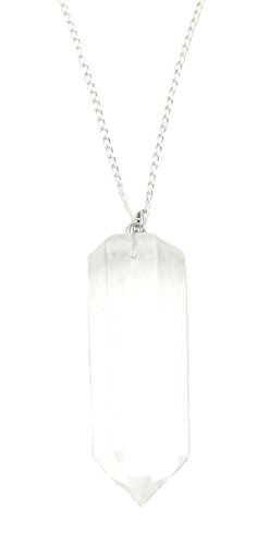 Quartz Crystal Point Pendant, Chakra Reiki Gemstone Sterling Silver 18
