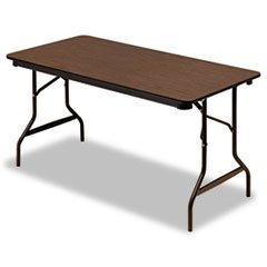 - Economy Wood Laminate Folding Table, Rectangular, 60w x 30d x 29h, Walnut