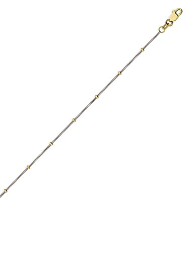 (14k Two-tone White and Yellow Gold Satellite Bead Curb Chain Necklace)