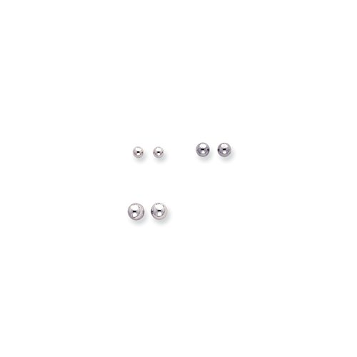 Roy Rose Jewelry 14k White Gold Madi K 4 - 6mm Balls, Set of 3 Earrings by Roy Rose Jewelry