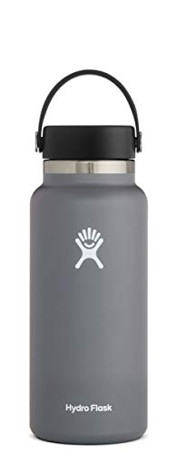 Hydro Flask Water Bottle - Stainless Steel & Vacuum Insulated - Wide Mouth 2.0 with Leak Proof Flex Cap - 32 oz, Stone