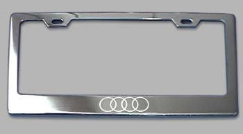 Amazoncom Audi Rings Logo Chrome License Plate Frame Automotive - Audi license plate frame