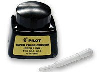 12 Pack Pilot Pen 43500 1oz Refill Ink for Permanent Markers - Black (SCRF-BLK)