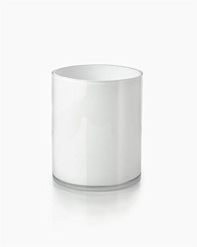 Serene Spaces Living White Glass Cylinder Vase - Smart Modern White Design, Décor Accent, 6