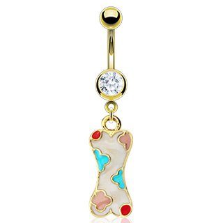 Body Accentz Belly Button Ring Navel Multi Epoxy Puppy Dog Bone Body Jewelry 14 Gauge