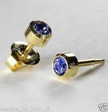 (New 24ct. Gold Plate Personal Piercer Sapphire September Bezel 3mm Ear Piercing Earrings Studex System 75)