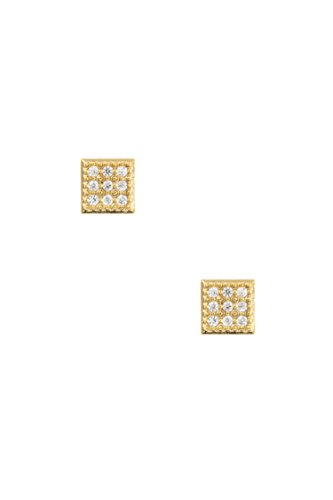 Post Ayala Earring (Karmas Canvas CZ Stone Pave Square Shape Post Earring (Gold))