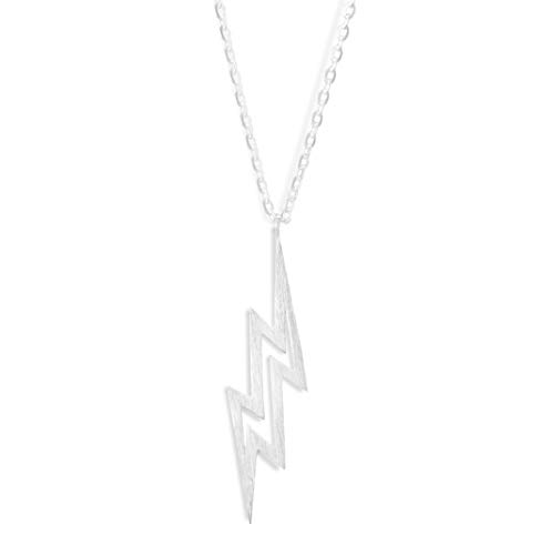Altitude Boutique Brushed Lightning Bolt Necklace, Flash Necklace (Silver)