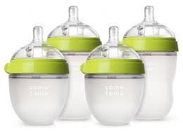 Comotomo - Baby Bottles - Baby Feeding - Green - 4 Pack - Two 5 Ounce Bottles and Two 8 Ounce Bottles by Comotomo